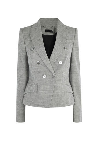 Tailored Blazer - pattern: plain; style: single breasted blazer; collar: standard lapel/rever collar; predominant colour: light grey; occasions: work; length: standard; fit: tailored/fitted; fibres: polyester/polyamide - mix; sleeve length: long sleeve; sleeve style: standard; collar break: medium; pattern type: fabric; texture group: woven light midweight; wardrobe: investment; season: a/w 2016