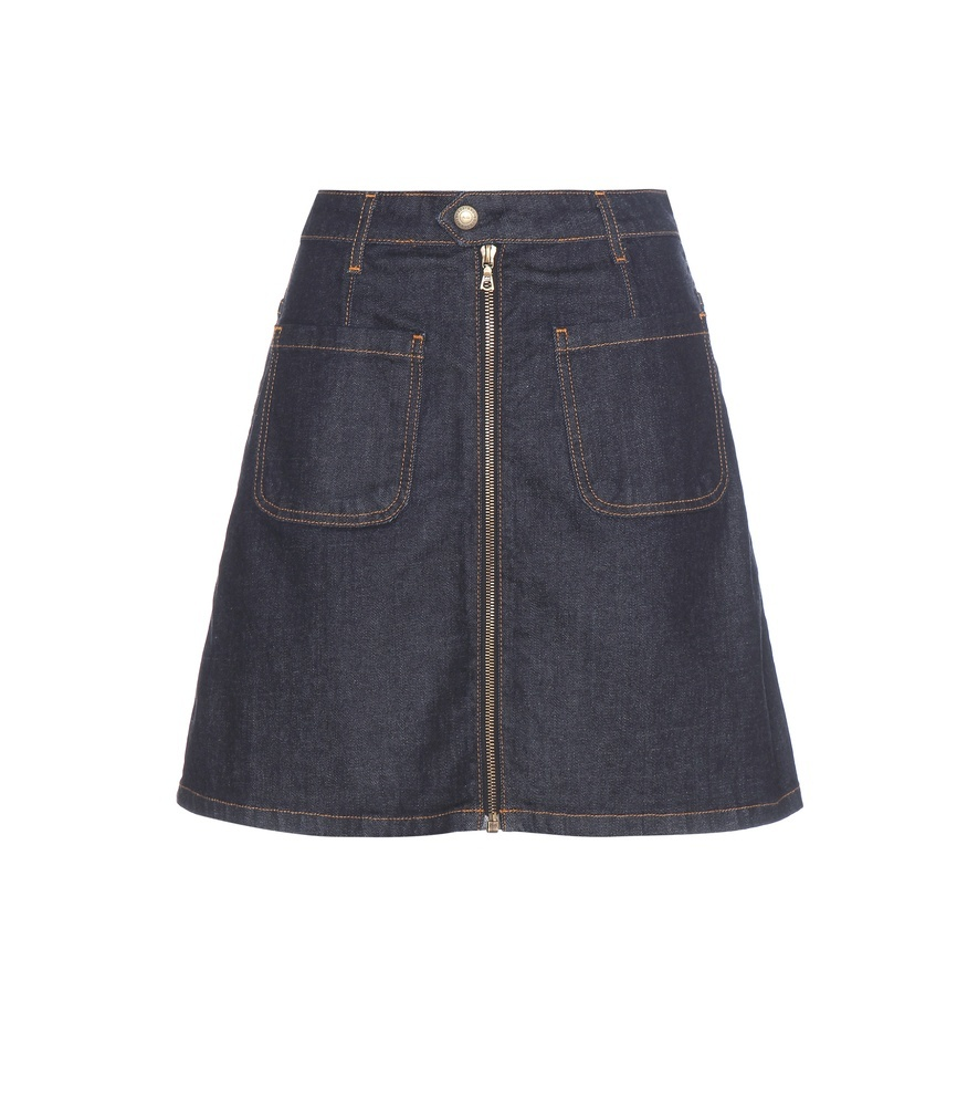 Becca Denim Skirt - pattern: plain; fit: loose/voluminous; waist: mid/regular rise; predominant colour: navy; occasions: casual; length: just above the knee; style: a-line; fibres: cotton - 100%; texture group: denim; pattern type: fabric; wardrobe: basic; season: a/w 2016