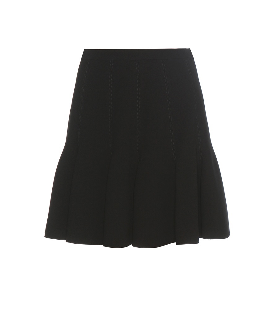 Ruffled Skater Skirt - length: mid thigh; pattern: plain; fit: body skimming; waist: mid/regular rise; predominant colour: black; occasions: evening; style: fit & flare; fibres: polyester/polyamide - 100%; pattern type: fabric; texture group: other - light to midweight; season: a/w 2016; wardrobe: event