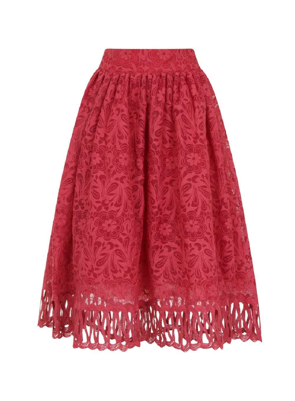 Womens **Chi Chi London Red Cutwork Midi Skirt Red - style: full/prom skirt; fit: loose/voluminous; waist: mid/regular rise; predominant colour: true red; occasions: evening; length: on the knee; fibres: polyester/polyamide - 100%; pattern type: fabric; pattern: patterned/print; texture group: other - light to midweight; season: a/w 2016; wardrobe: event