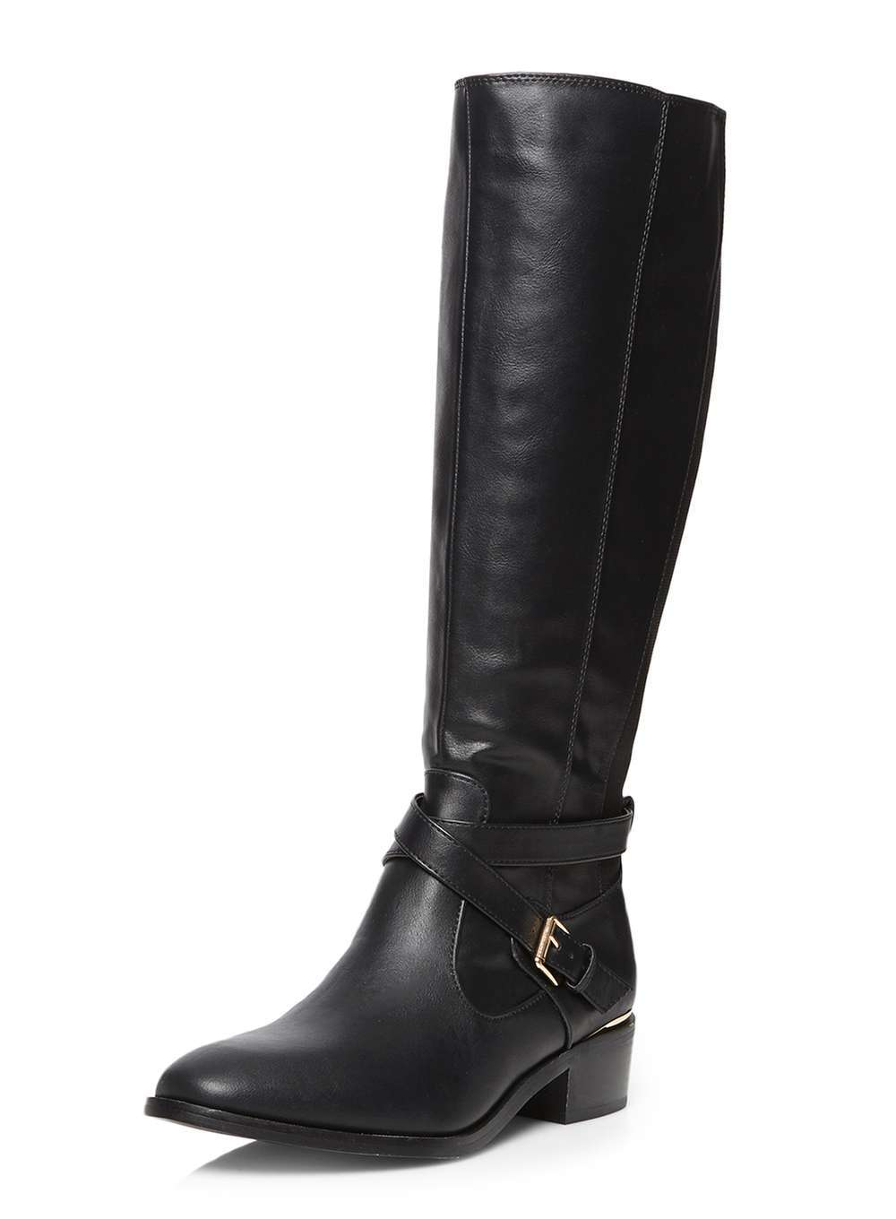 Womens Wide Fit Black Wrist Knee Boot Black - predominant colour: black; occasions: casual, creative work; material: faux leather; heel height: mid; embellishment: buckles; heel: block; toe: round toe; boot length: knee; style: standard; finish: plain; pattern: plain; season: a/w 2016