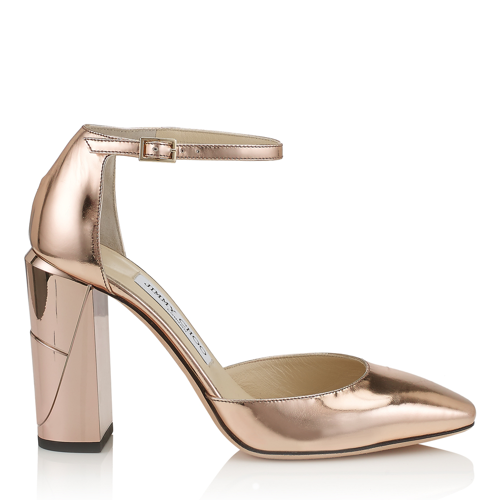 Mabel 95 Tea Rose Mirror Leather Mary Jane Pumps - predominant colour: gold; occasions: evening; material: leather; heel height: high; ankle detail: ankle strap; heel: block; toe: pointed toe; style: courts; finish: metallic; pattern: plain; season: a/w 2016; wardrobe: event