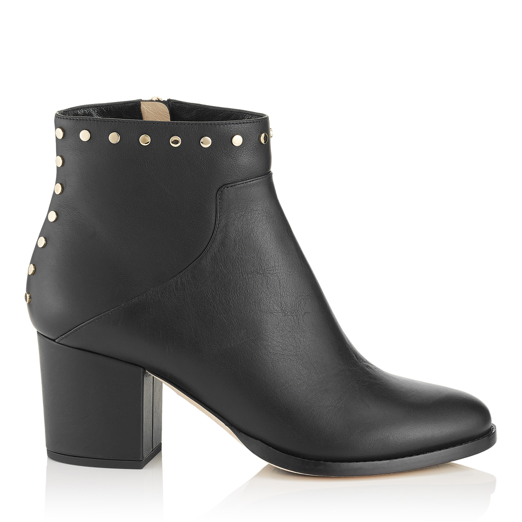 Melvin 65 Black Smooth Leather Ankle Boots With Studs Trim - predominant colour: black; occasions: casual; material: leather; heel height: mid; embellishment: studs; heel: block; toe: round toe; boot length: ankle boot; style: standard; finish: plain; pattern: plain; season: a/w 2016; wardrobe: highlight