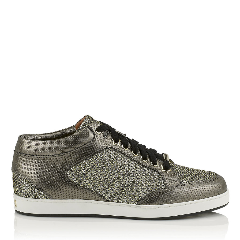 Miami Light Bronze Metallic Printed Leather And Glitter Low Top Trainers - predominant colour: bronze; occasions: casual; material: leather; heel height: flat; toe: round toe; style: trainers; finish: metallic; pattern: plain; wardrobe: basic; season: a/w 2016