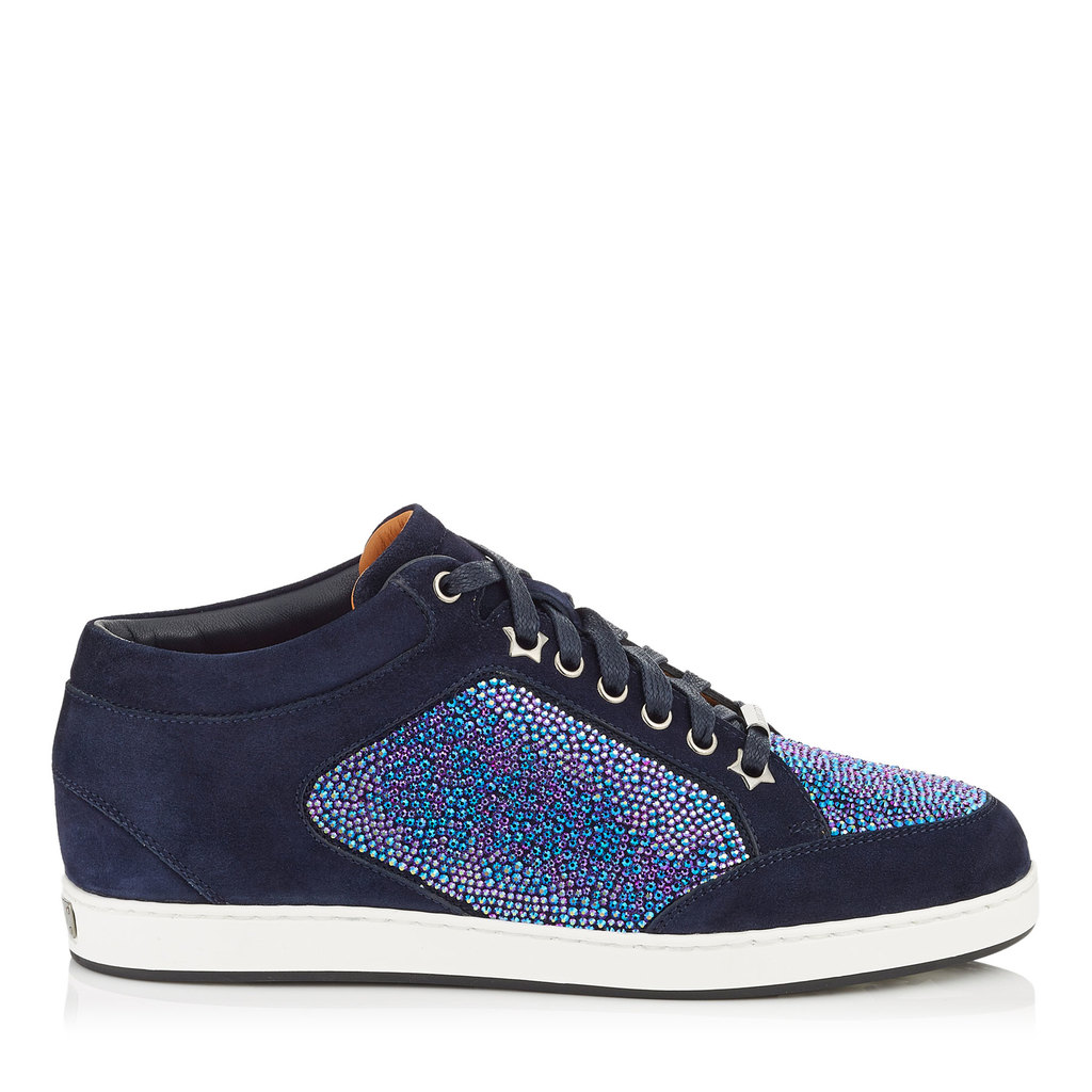 Miami Petrol Suede With Crystal Mix Low Top Trainers - predominant colour: navy; secondary colour: denim; occasions: casual; material: suede; heel height: flat; toe: round toe; style: trainers; finish: plain; pattern: plain; season: a/w 2016
