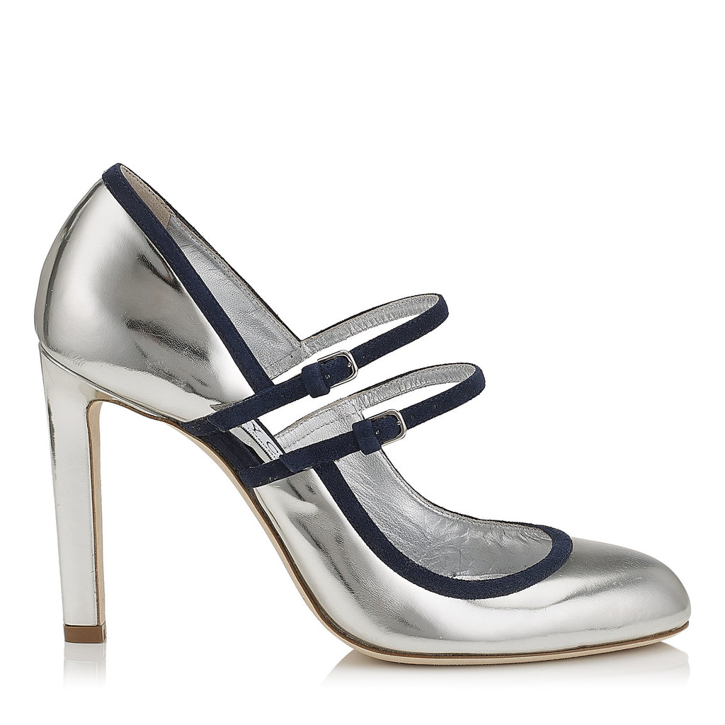 Micha 100 Silver Mirror Leather And Navy Suede Round Toe Pumps - secondary colour: navy; predominant colour: silver; occasions: evening; material: leather; heel: stiletto; toe: round toe; style: courts; finish: metallic; pattern: plain; heel height: very high; multicoloured: multicoloured; season: a/w 2016; wardrobe: event