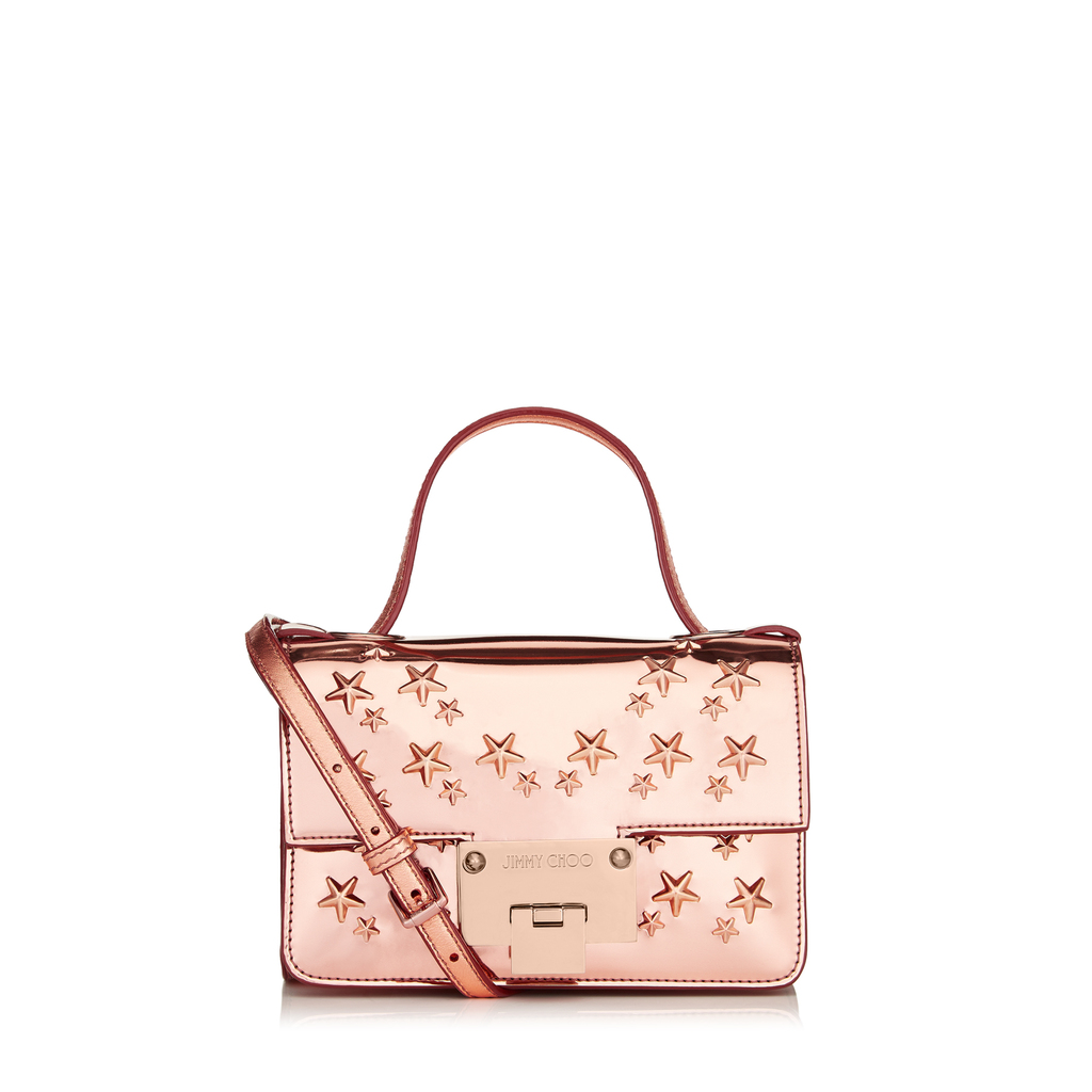 Rebel Soft Mini Tea Rose Mirror Coated Fabric With Stars Mini Cross Body Bag - predominant colour: pink; occasions: casual, creative work; type of pattern: standard; style: tote; length: handle; size: standard; material: fabric; finish: metallic; pattern: patterned/print; season: a/w 2016; wardrobe: highlight