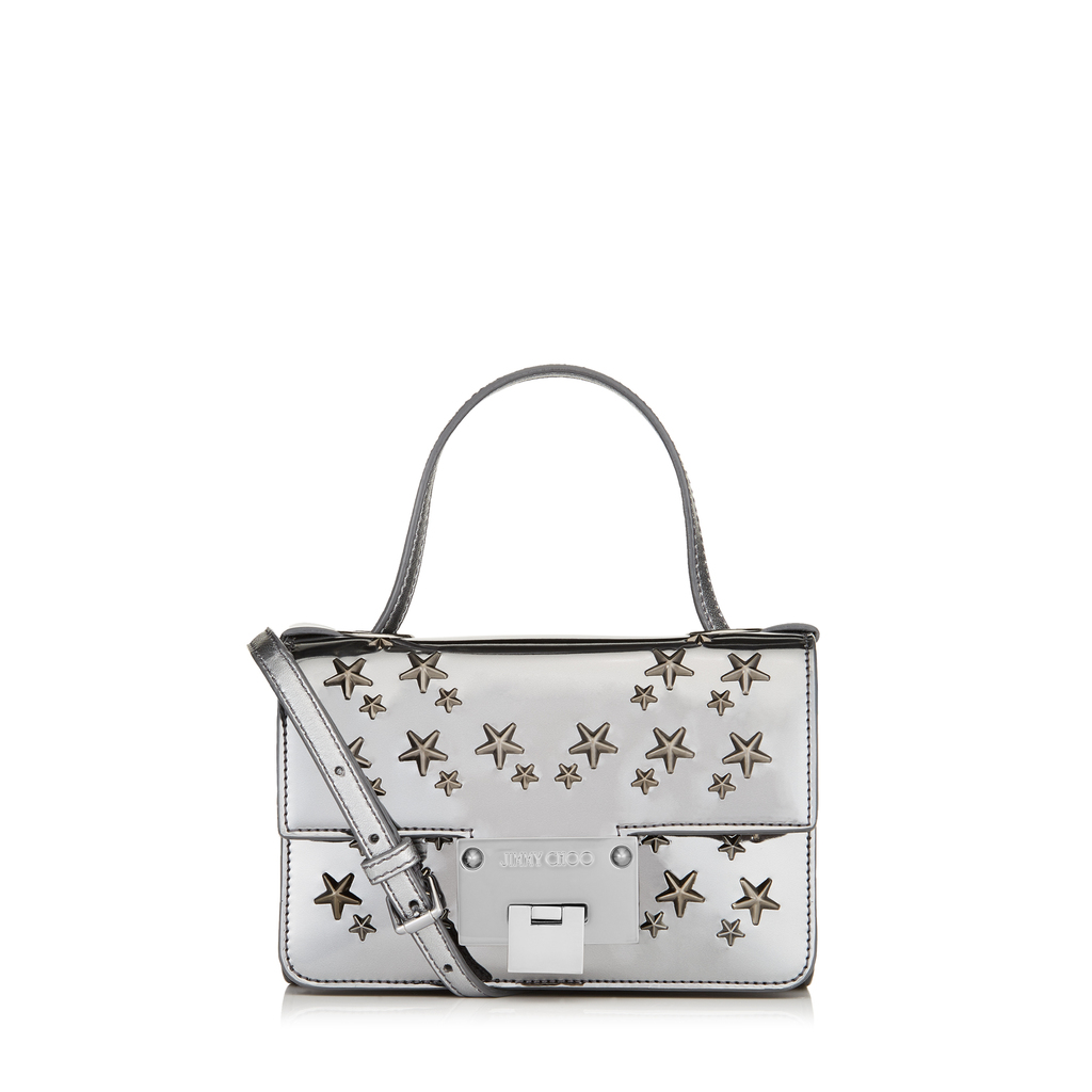 Rebel Soft Mini Anthracite Mirror Coated Fabric With Stars Mini Cross Body Bag - predominant colour: silver; occasions: casual, creative work; type of pattern: standard; style: tote; length: handle; size: standard; material: fabric; finish: metallic; pattern: patterned/print; season: a/w 2016; wardrobe: highlight