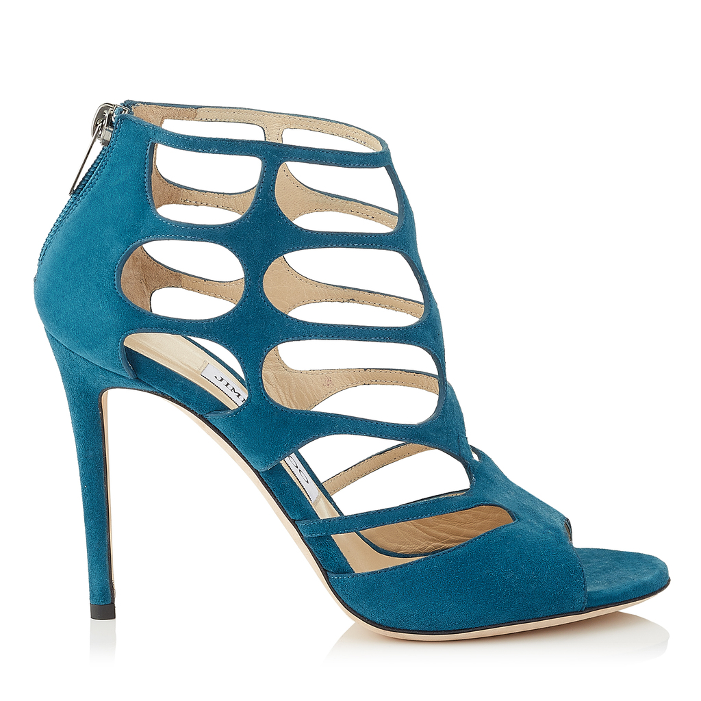 Ren 100 Midnight Blue Suede Sandals - predominant colour: turquoise; occasions: evening; material: suede; heel: stiletto; toe: open toe/peeptoe; style: strappy; finish: plain; pattern: plain; heel height: very high; season: a/w 2016