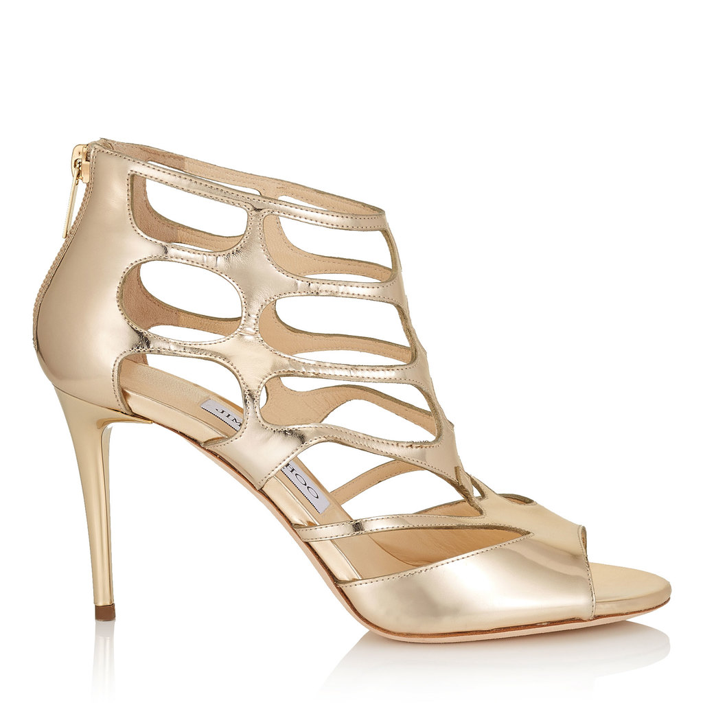 Ren 85 Dore Mirror Leather Sandals - predominant colour: gold; occasions: evening; material: leather; heel height: high; heel: stiletto; toe: open toe/peeptoe; style: strappy; finish: metallic; pattern: plain; season: a/w 2016