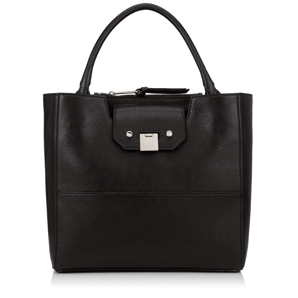 Robin Black Soft Grained Goat Leather Tote Bag - predominant colour: black; occasions: casual; type of pattern: standard; style: tote; length: shoulder (tucks under arm); size: standard; material: leather; pattern: plain; finish: plain; wardrobe: investment; season: a/w 2016