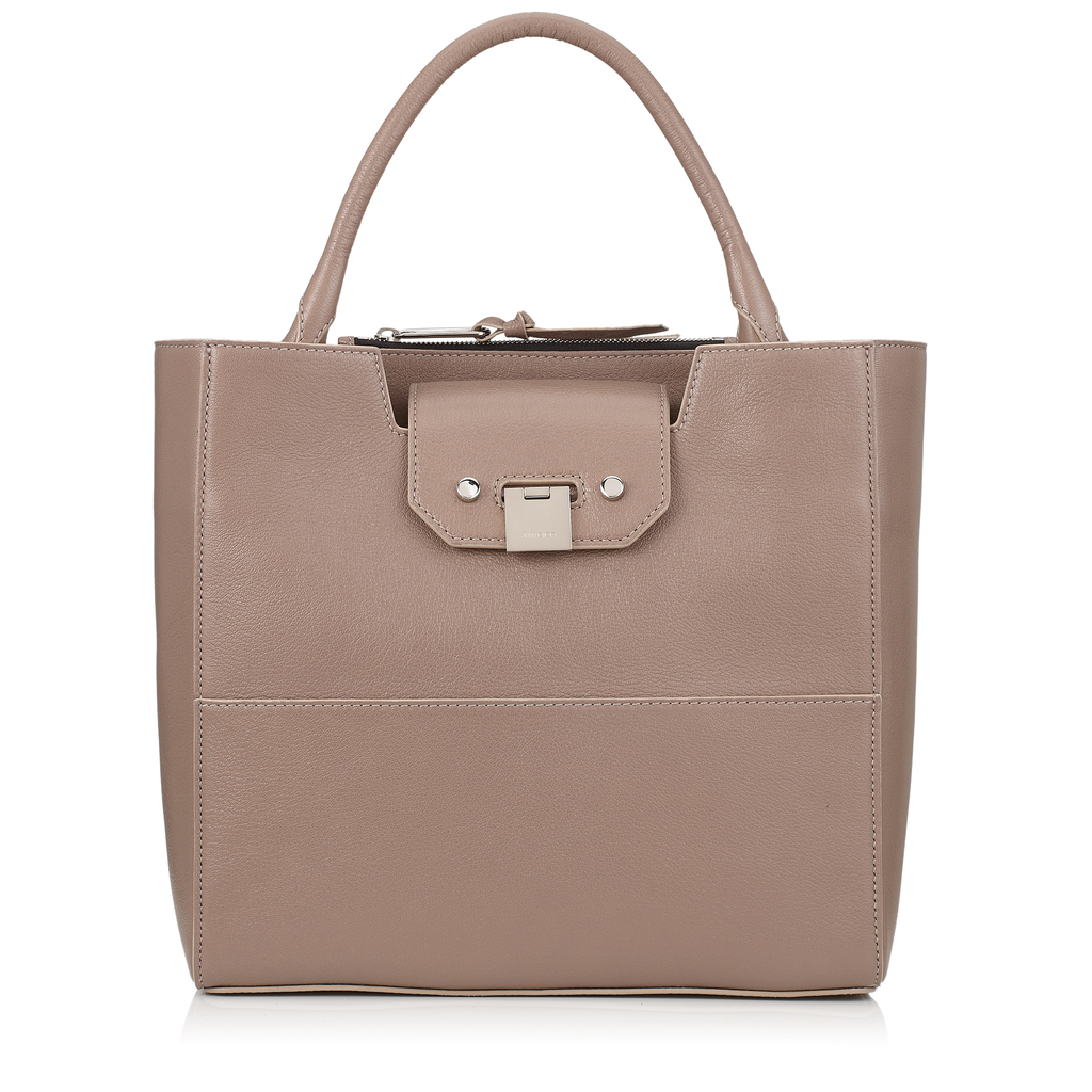 Robin Light Mocha Soft Grained Goat Leather Tote Bag - predominant colour: stone; occasions: casual; type of pattern: standard; style: tote; length: shoulder (tucks under arm); size: standard; material: leather; pattern: plain; finish: plain; wardrobe: investment; season: a/w 2016