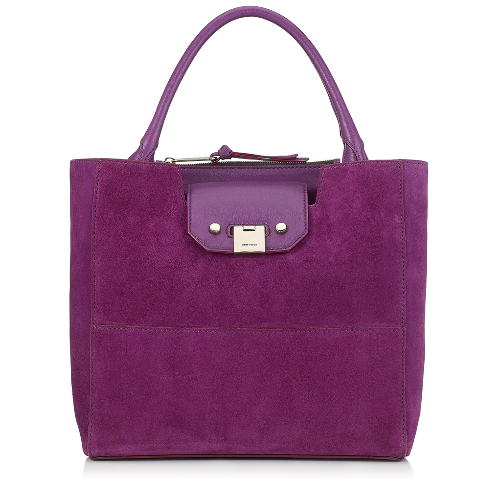 Robin Madeline Suede Tote Bag - predominant colour: purple; occasions: casual; type of pattern: standard; style: tote; length: shoulder (tucks under arm); size: standard; material: suede; pattern: plain; finish: plain; season: a/w 2016; wardrobe: highlight