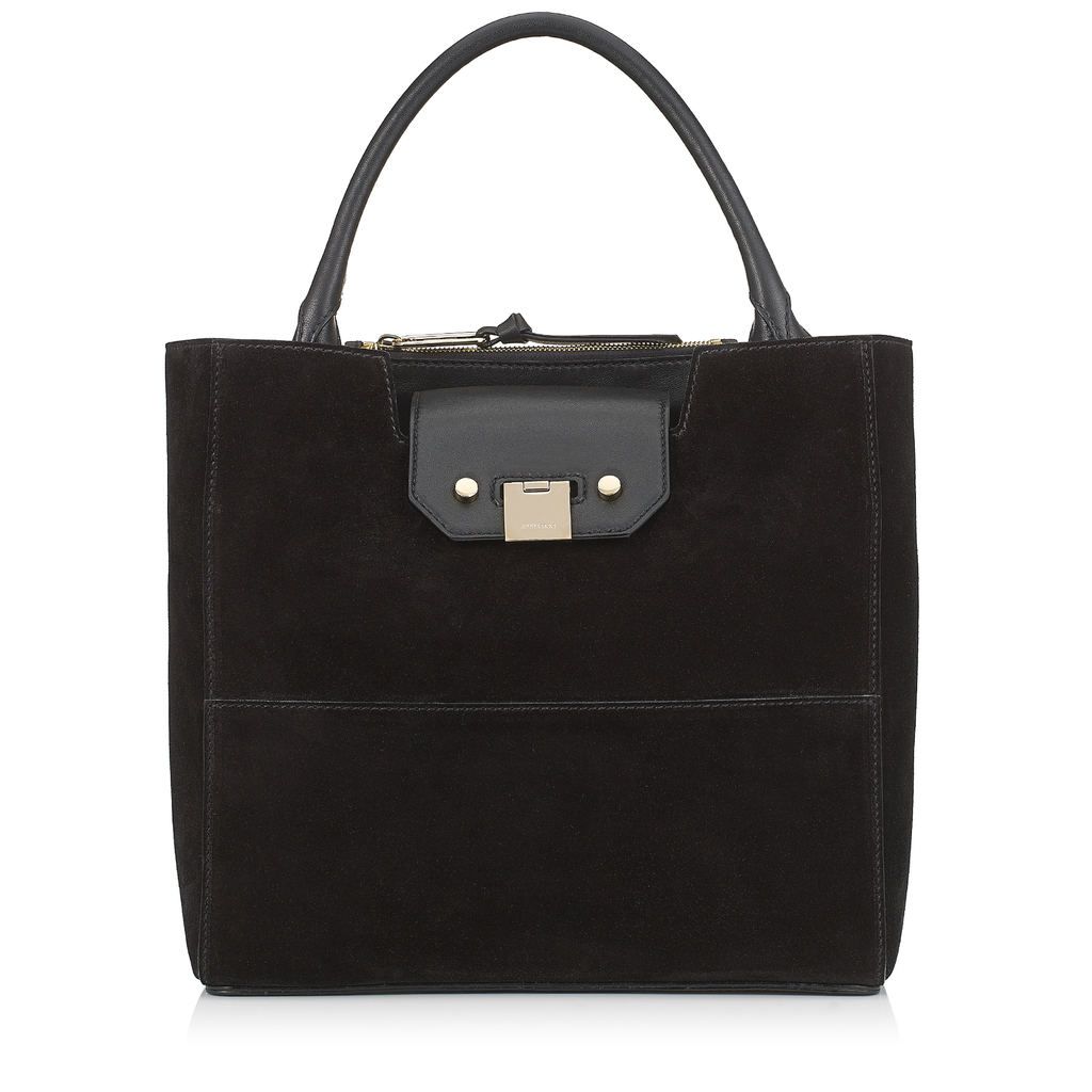 Robin Black Suede Tote Bag - predominant colour: black; occasions: casual, work, creative work; type of pattern: standard; style: tote; length: handle; size: standard; material: suede; pattern: plain; finish: plain; wardrobe: investment; season: a/w 2016
