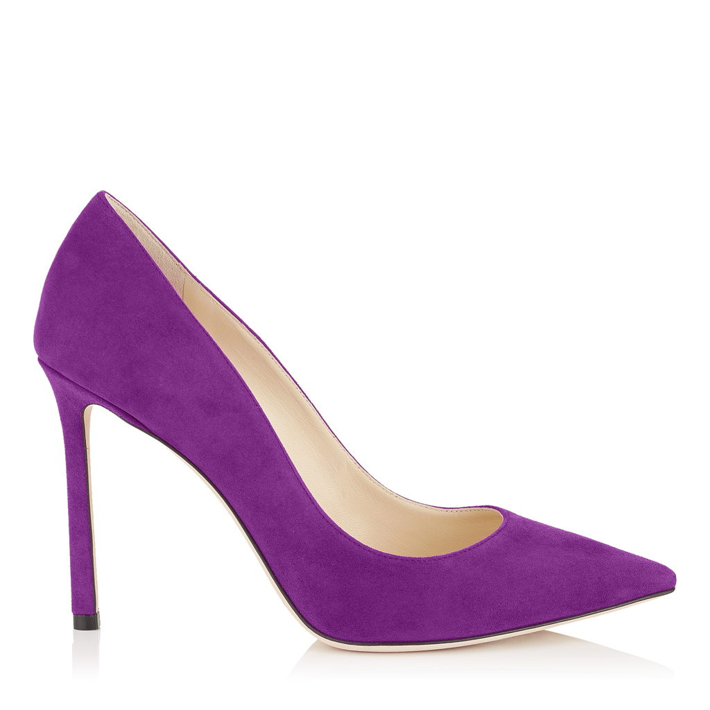 Romy 100 Madeline Suede Pointy Toe Pumps - predominant colour: purple; occasions: evening; material: suede; heel: stiletto; toe: pointed toe; style: courts; finish: plain; pattern: plain; heel height: very high; season: a/w 2016