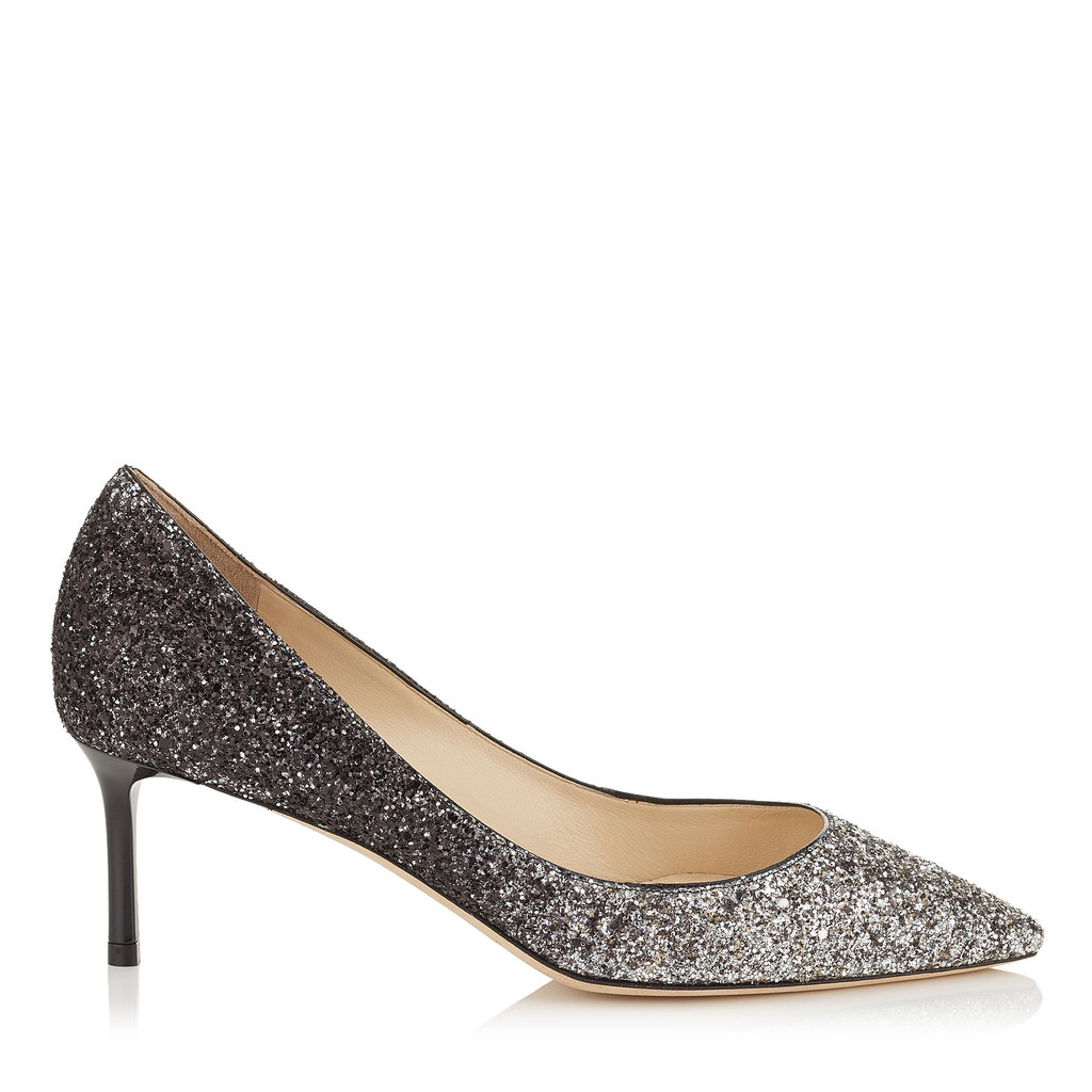 Romy 40 Light Mocha And Black Speckled Glitter Dégradé Pointy Toe Pumps - predominant colour: silver; secondary colour: light grey; occasions: evening; material: leather; heel height: high; embellishment: glitter; heel: stiletto; toe: pointed toe; style: courts; finish: metallic; pattern: plain; multicoloured: multicoloured; season: a/w 2016; wardrobe: event; trends: metallics