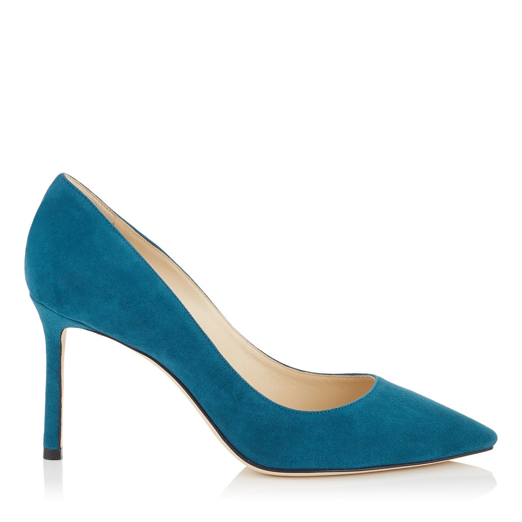 Romy 85 Midnight Blue Suede Pointy Toe Pumps - predominant colour: turquoise; occasions: evening; material: suede; heel: stiletto; toe: pointed toe; style: courts; finish: plain; pattern: plain; heel height: very high; season: a/w 2016; wardrobe: event