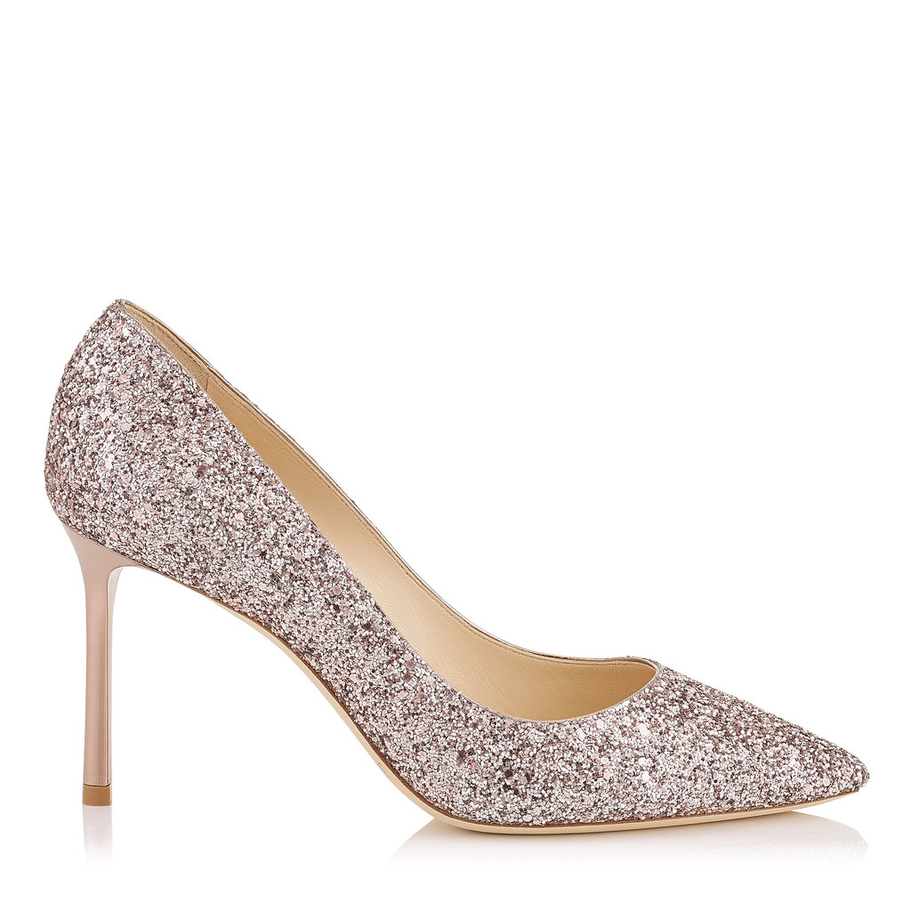 Romy 85 Tea Rose Metallic Coarse Glitter Fabric Pointy Toe Pumps - predominant colour: silver; occasions: evening; material: leather; embellishment: glitter; heel: stiletto; toe: pointed toe; style: courts; finish: metallic; pattern: plain; heel height: very high; season: a/w 2016; wardrobe: event; trends: metallics