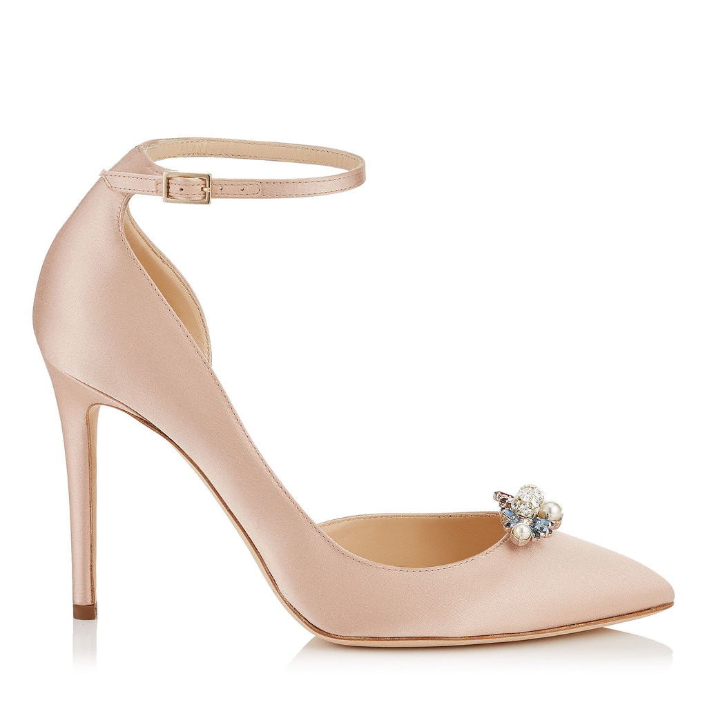 Rosa 100 Dusty Rose Satin Pointy Toe Pumps With Crystal Mix Clip On Jewels - predominant colour: blush; occasions: evening; material: satin; heel height: high; embellishment: crystals/glass; ankle detail: ankle strap; heel: stiletto; toe: pointed toe; style: courts; finish: plain; pattern: plain; season: a/w 2016; wardrobe: event