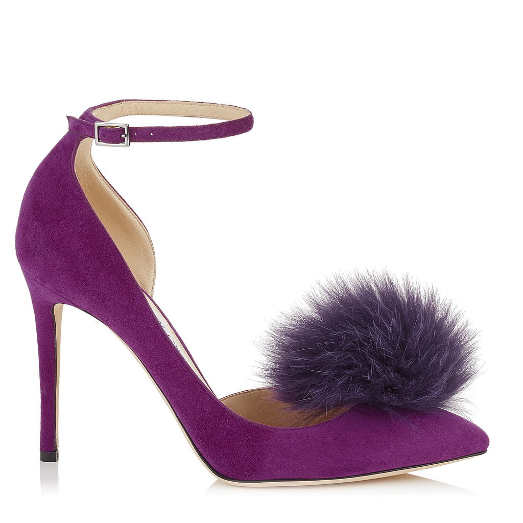 Rosa 100 Madeline Suede Pointy Toe Pumps With Clip On Pom Poms - predominant colour: purple; occasions: evening; material: suede; ankle detail: ankle strap; heel: stiletto; toe: pointed toe; style: courts; finish: plain; pattern: plain; embellishment: pompom; heel height: very high; season: a/w 2016; wardrobe: event