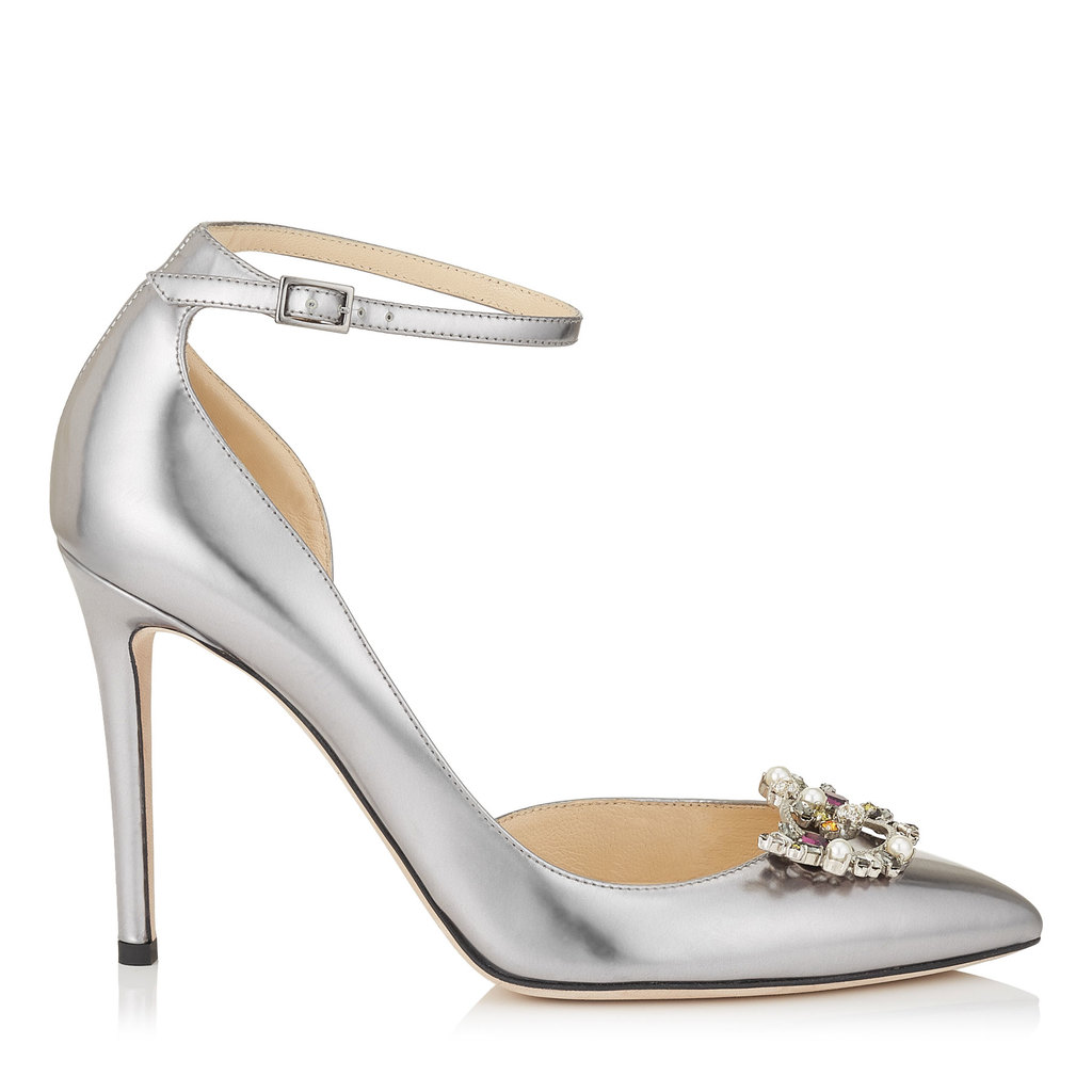 Rosa 100 Steel Mirror Leather Pointy Toe Pumps With Crystal Mix Clip On Jewels - predominant colour: silver; occasions: evening, occasion; material: leather; heel height: high; embellishment: jewels/stone; ankle detail: ankle strap; heel: stiletto; toe: pointed toe; style: courts; finish: metallic; pattern: plain; season: a/w 2016; wardrobe: event