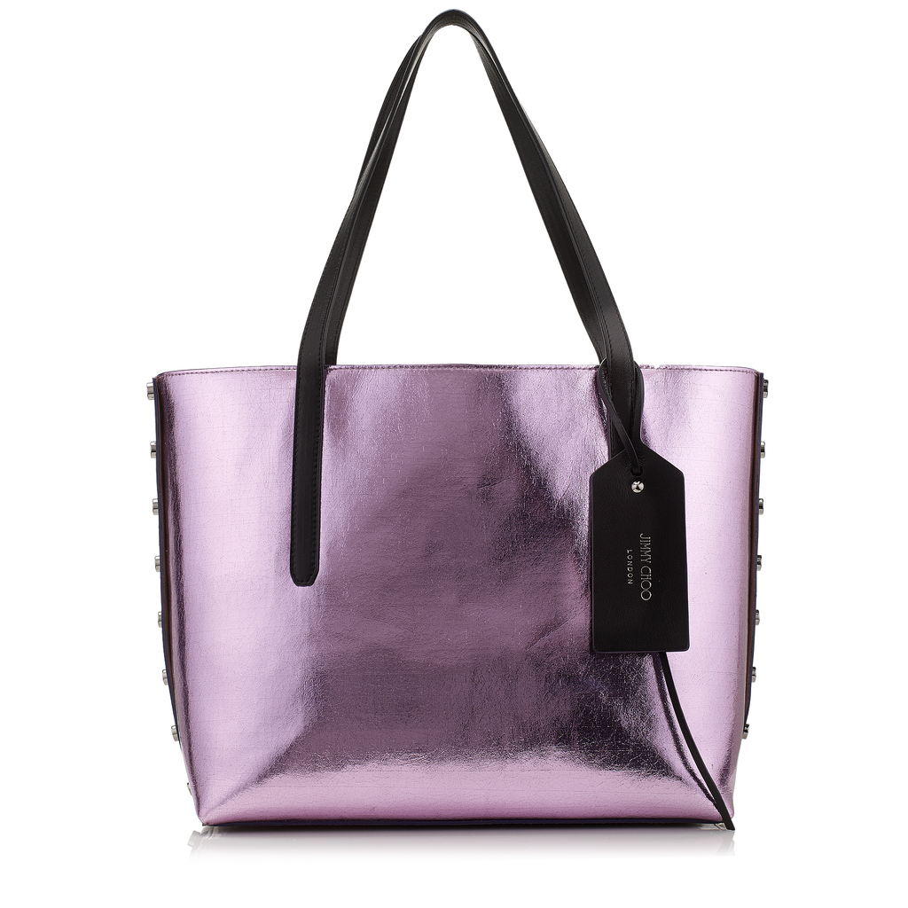 Twist East West Camellia And Dark Silver Bicolour Cracked Metallic Coated Fabric Tote Bag - predominant colour: lilac; secondary colour: black; occasions: casual; type of pattern: standard; style: tote; length: shoulder (tucks under arm); size: oversized; material: leather; pattern: plain; finish: metallic; season: a/w 2016; wardrobe: highlight