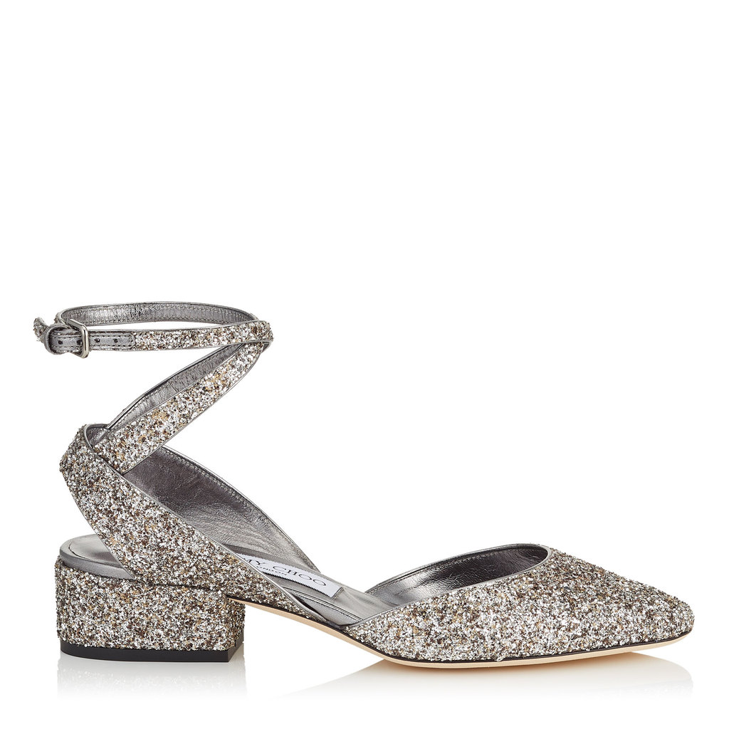 Vicky 30 Light Mocha Speckled Glitter Two Piece Pumps - predominant colour: silver; occasions: evening, creative work; material: leather; heel height: flat; toe: pointed toe; style: ballerinas / pumps; finish: metallic; pattern: plain; season: a/w 2016