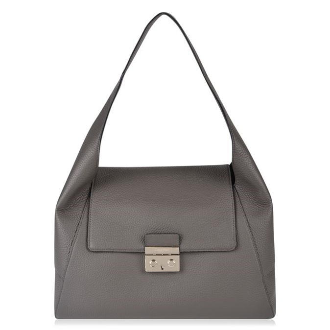Satchel Bag - predominant colour: mid grey; occasions: casual; type of pattern: standard; style: shoulder; length: shoulder (tucks under arm); size: standard; material: leather; pattern: plain; finish: plain; wardrobe: investment; season: a/w 2016