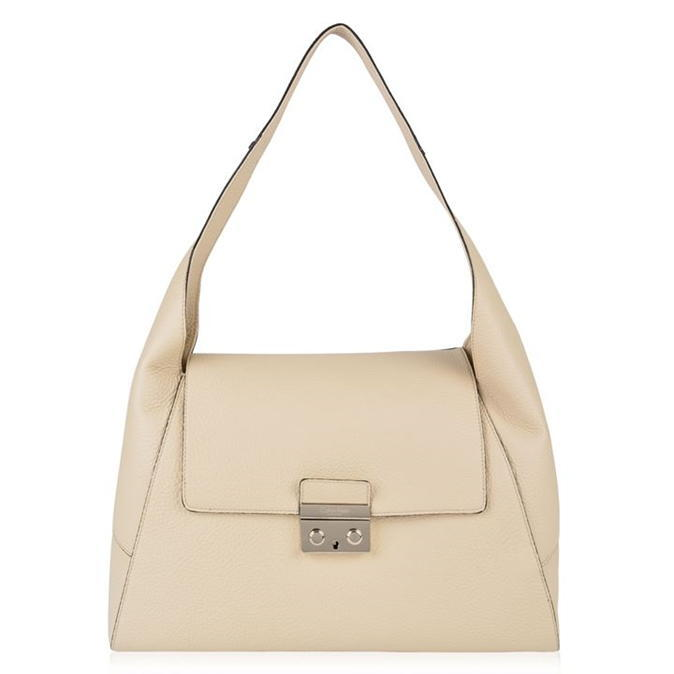 Satchel Bag - predominant colour: ivory/cream; occasions: casual; type of pattern: standard; style: shoulder; length: shoulder (tucks under arm); size: standard; material: leather; pattern: plain; finish: plain; wardrobe: investment; season: a/w 2016