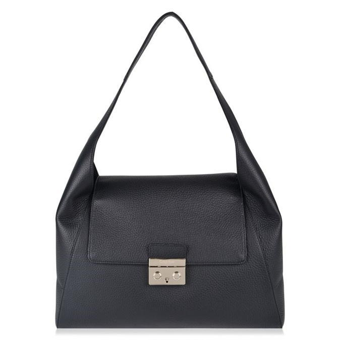 Satchel Bag - predominant colour: black; occasions: casual; type of pattern: standard; style: shoulder; length: shoulder (tucks under arm); size: standard; material: leather; pattern: plain; finish: plain; wardrobe: investment; season: a/w 2016