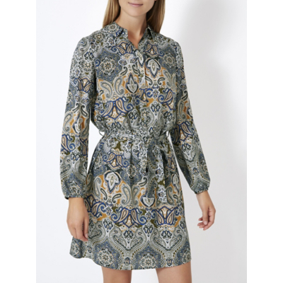 Paisley Print Shirt Dress Khaki - style: shirt; length: mid thigh; neckline: shirt collar/peter pan/zip with opening; fit: fitted at waist; waist detail: belted waist/tie at waist/drawstring; predominant colour: denim; secondary colour: mustard; occasions: casual, creative work; fibres: polyester/polyamide - 100%; sleeve length: long sleeve; sleeve style: standard; pattern type: fabric; pattern: patterned/print; texture group: woven light midweight; multicoloured: multicoloured; season: a/w 2016; wardrobe: highlight