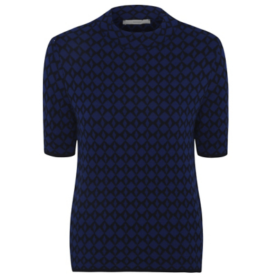 Geometric Short Sleeve Jumper Navy - neckline: high neck; style: standard; predominant colour: navy; occasions: casual; length: standard; fibres: acrylic - 100%; fit: loose; sleeve length: short sleeve; sleeve style: standard; texture group: knits/crochet; pattern type: knitted - fine stitch; pattern: patterned/print; season: a/w 2016; wardrobe: highlight; embellishment: contrast fabric; embellishment location: hip