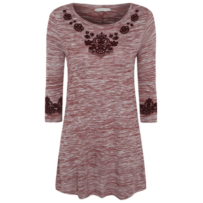 Textured Tunic Burgundy - neckline: round neck; pattern: plain; style: tunic; predominant colour: burgundy; occasions: casual; fit: body skimming; length: mid thigh; sleeve length: 3/4 length; sleeve style: standard; pattern type: fabric; texture group: jersey - stretchy/drapey; fibres: viscose/rayon - mix; season: a/w 2016