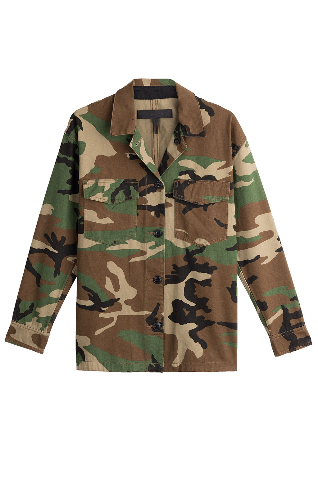 Cotton Camouflage Jacket - secondary colour: tan; predominant colour: khaki; occasions: casual; length: standard; fit: straight cut (boxy); fibres: cotton - mix; collar: shirt collar/peter pan/zip with opening; sleeve length: long sleeve; sleeve style: standard; texture group: cotton feel fabrics; collar break: high; pattern type: fabric; style: single breasted military jacket; pattern: camouflage; multicoloured: multicoloured; season: a/w 2016; wardrobe: highlight; trends: military