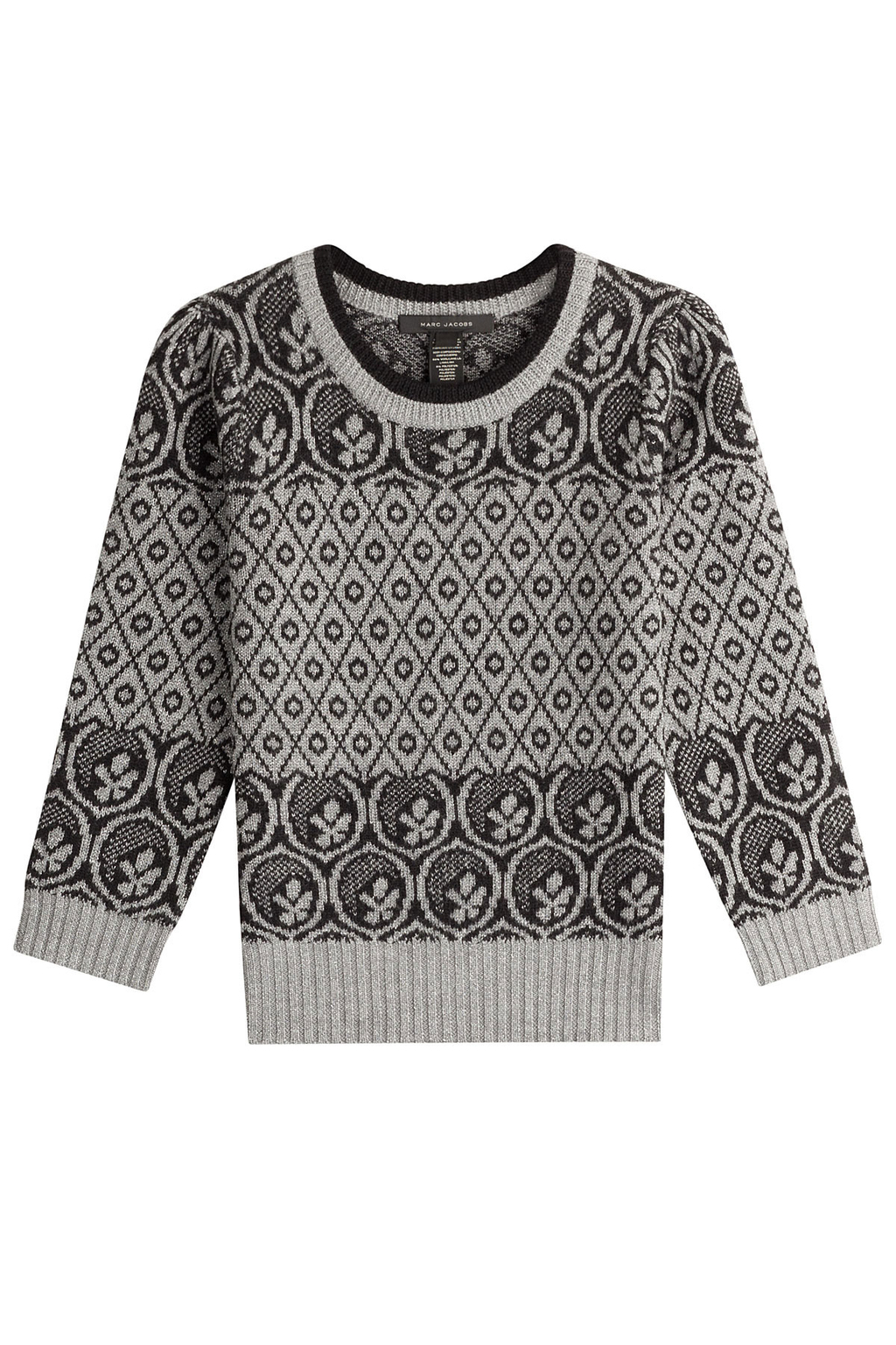 Wool Pullover - style: standard; predominant colour: mid grey; secondary colour: light grey; occasions: casual; length: standard; fibres: wool - 100%; fit: standard fit; neckline: crew; sleeve length: long sleeve; sleeve style: standard; texture group: knits/crochet; pattern type: knitted - big stitch; pattern: patterned/print; multicoloured: multicoloured; season: a/w 2016; wardrobe: highlight