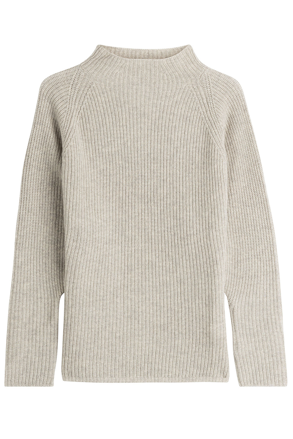 Wool Pullover With Cashmere - pattern: plain; neckline: high neck; style: standard; predominant colour: light grey; occasions: casual, creative work; length: standard; fibres: wool - mix; fit: loose; sleeve length: long sleeve; sleeve style: standard; texture group: knits/crochet; pattern type: knitted - big stitch; pattern size: standard; wardrobe: basic; season: a/w 2016