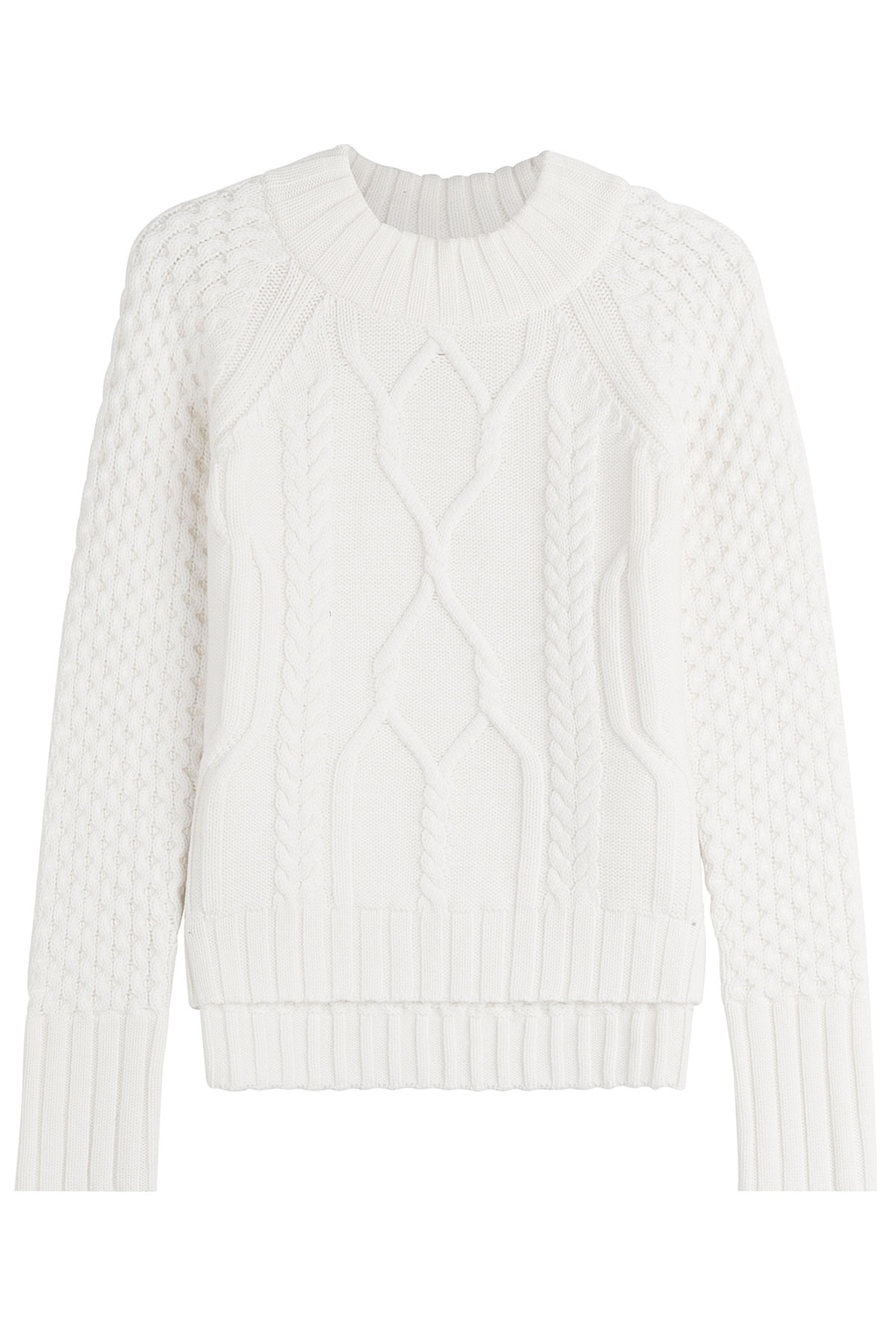 Wool Patterned Knit Pullover - sleeve style: raglan; style: standard; pattern: cable knit; predominant colour: white; occasions: casual, creative work; length: standard; fibres: wool - 100%; fit: standard fit; neckline: crew; sleeve length: long sleeve; texture group: knits/crochet; pattern type: knitted - other; pattern size: standard; season: a/w 2016; wardrobe: highlight