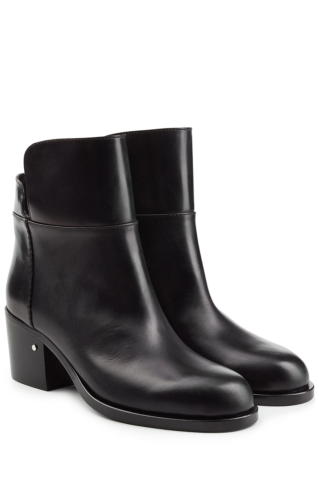 Leather Ankle Boots - predominant colour: black; occasions: casual; material: leather; heel height: mid; heel: block; toe: round toe; boot length: ankle boot; style: standard; finish: plain; pattern: plain; wardrobe: basic; season: a/w 2016