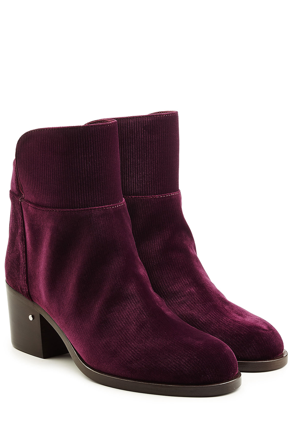 Velvet Ankle Boots - predominant colour: burgundy; occasions: casual; material: velvet; heel height: mid; heel: block; toe: round toe; boot length: ankle boot; style: standard; finish: plain; pattern: plain; season: a/w 2016; wardrobe: highlight