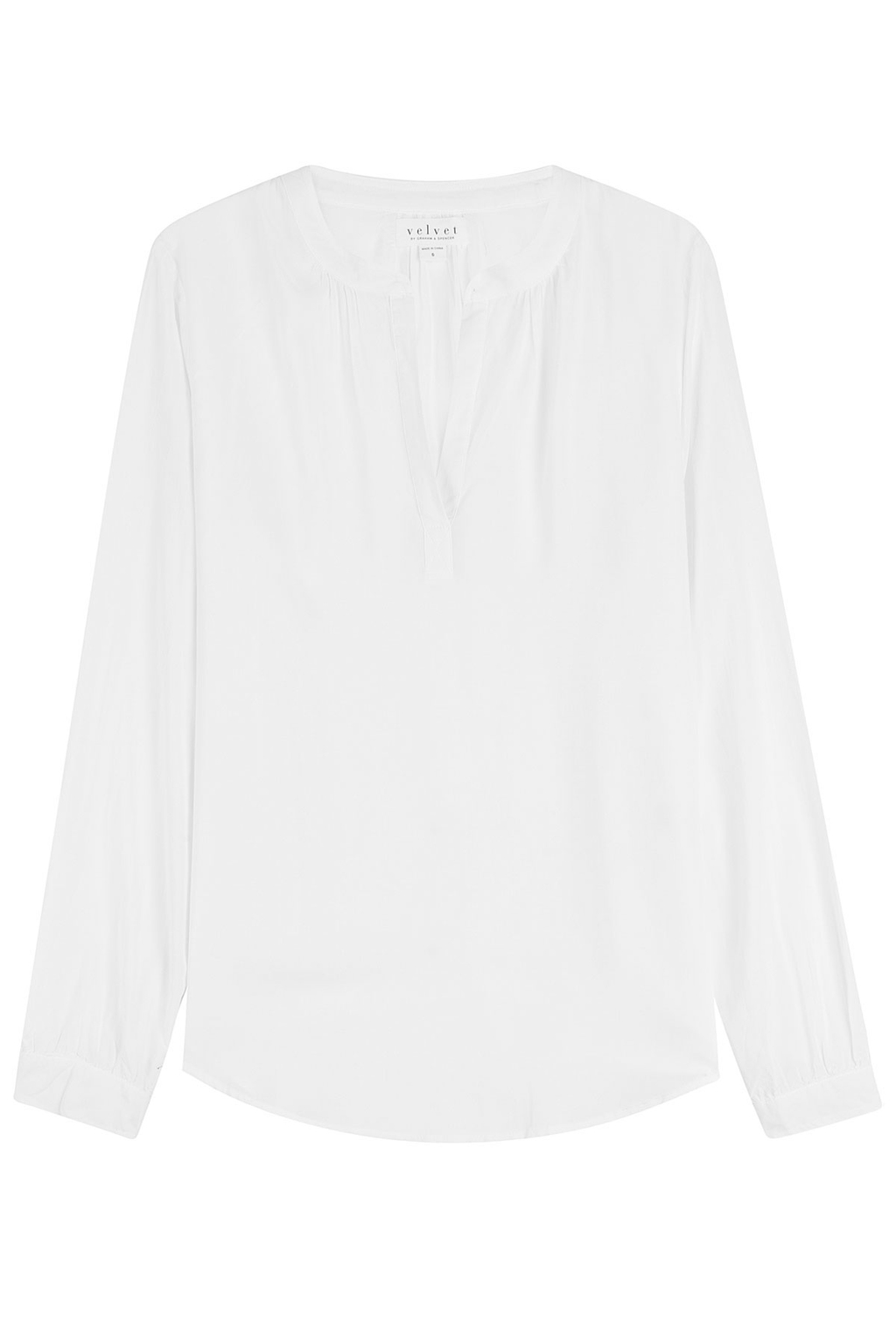 Fluid Blouse - pattern: plain; style: blouse; predominant colour: white; occasions: casual, creative work; length: standard; neckline: collarstand & mandarin with v-neck; fibres: viscose/rayon - 100%; fit: loose; sleeve length: long sleeve; sleeve style: standard; pattern type: fabric; texture group: jersey - stretchy/drapey; wardrobe: basic; season: a/w 2016