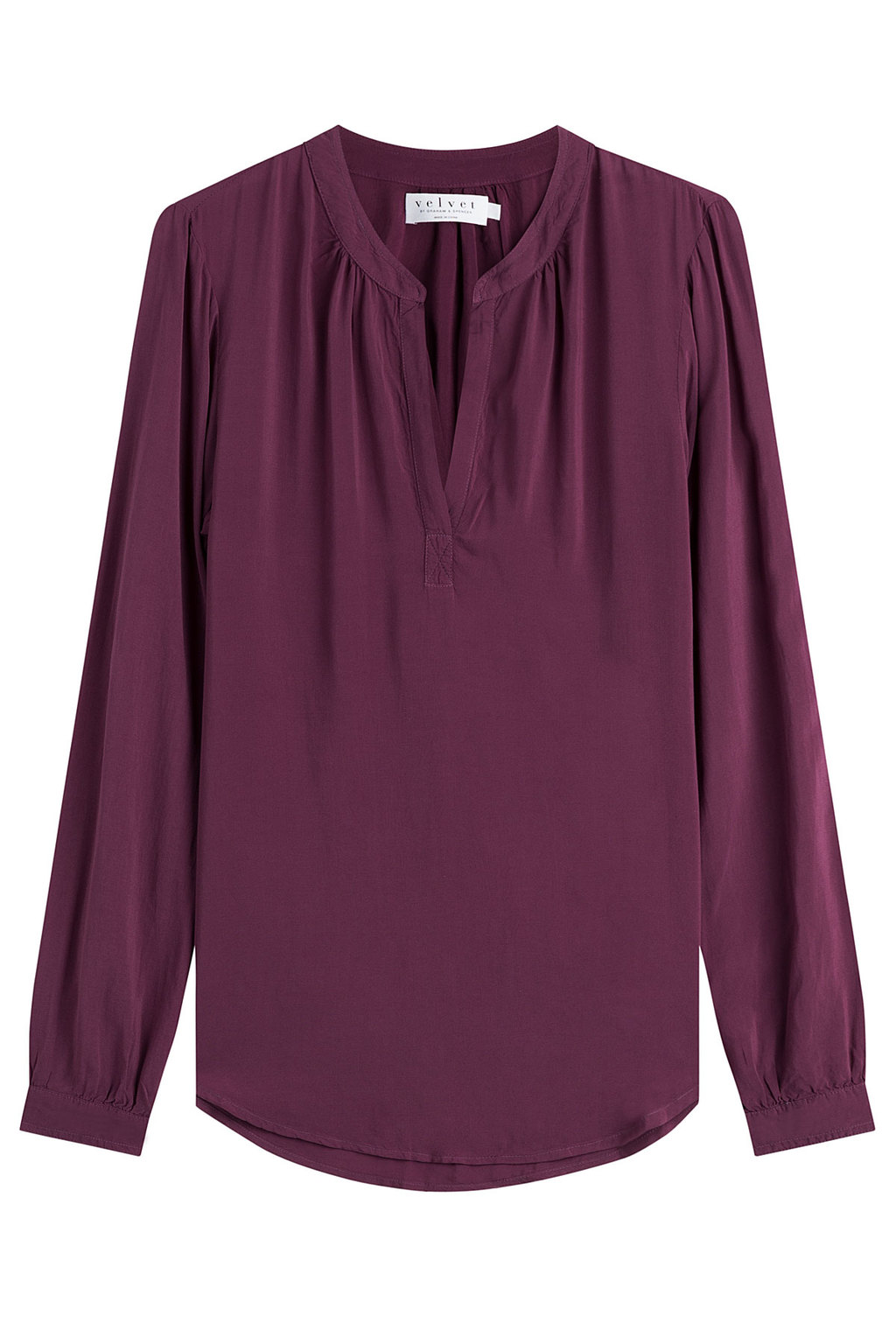 Fluid Blouse - pattern: plain; style: blouse; predominant colour: aubergine; occasions: casual, creative work; length: standard; neckline: collarstand & mandarin with v-neck; fibres: viscose/rayon - 100%; fit: loose; sleeve length: long sleeve; sleeve style: standard; pattern type: fabric; texture group: jersey - stretchy/drapey; season: a/w 2016; wardrobe: highlight