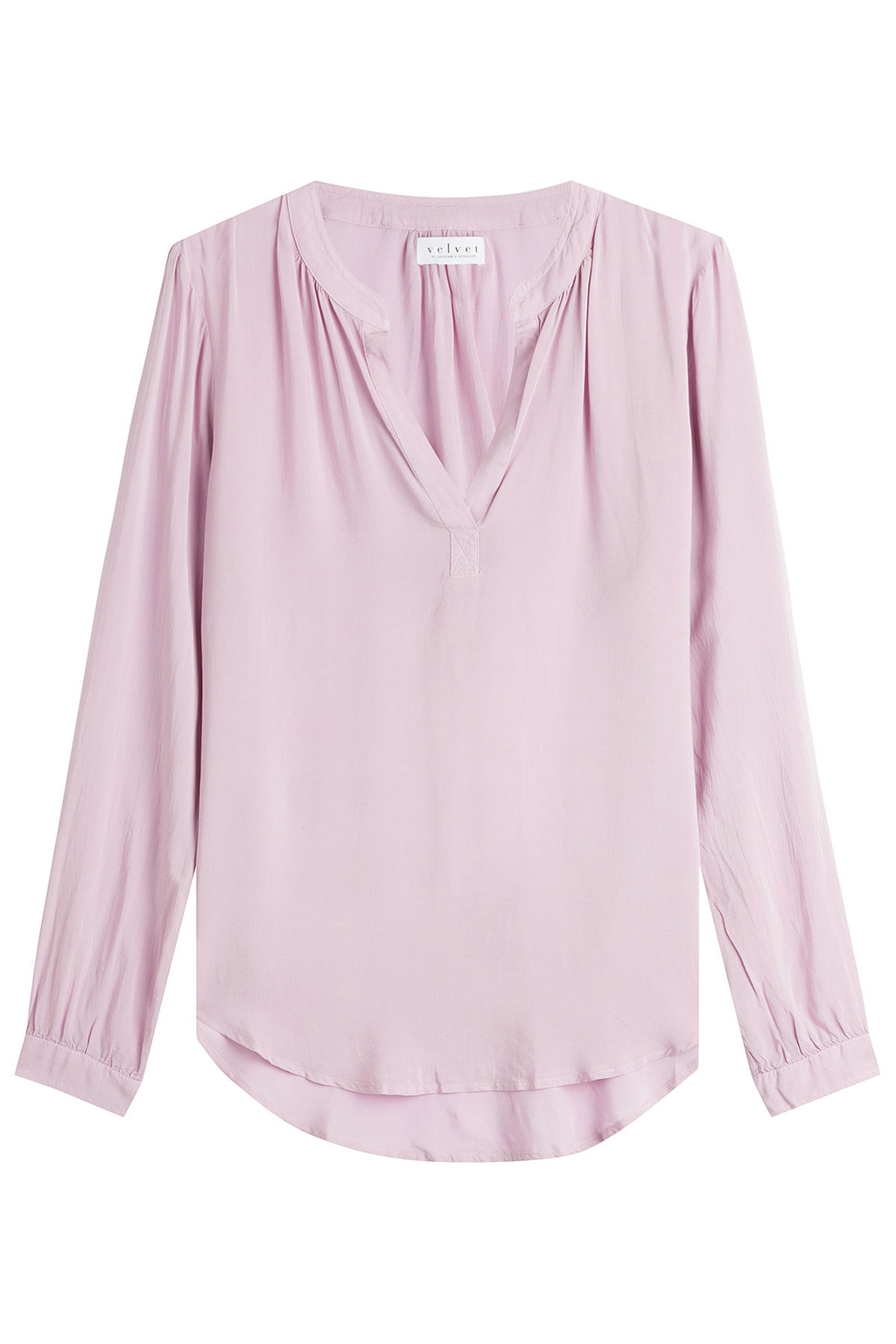Fluid Blouse - pattern: plain; style: blouse; predominant colour: blush; occasions: casual; length: standard; neckline: collarstand & mandarin with v-neck; fibres: viscose/rayon - 100%; fit: body skimming; sleeve length: long sleeve; sleeve style: standard; pattern type: fabric; texture group: jersey - stretchy/drapey; wardrobe: basic; season: a/w 2016
