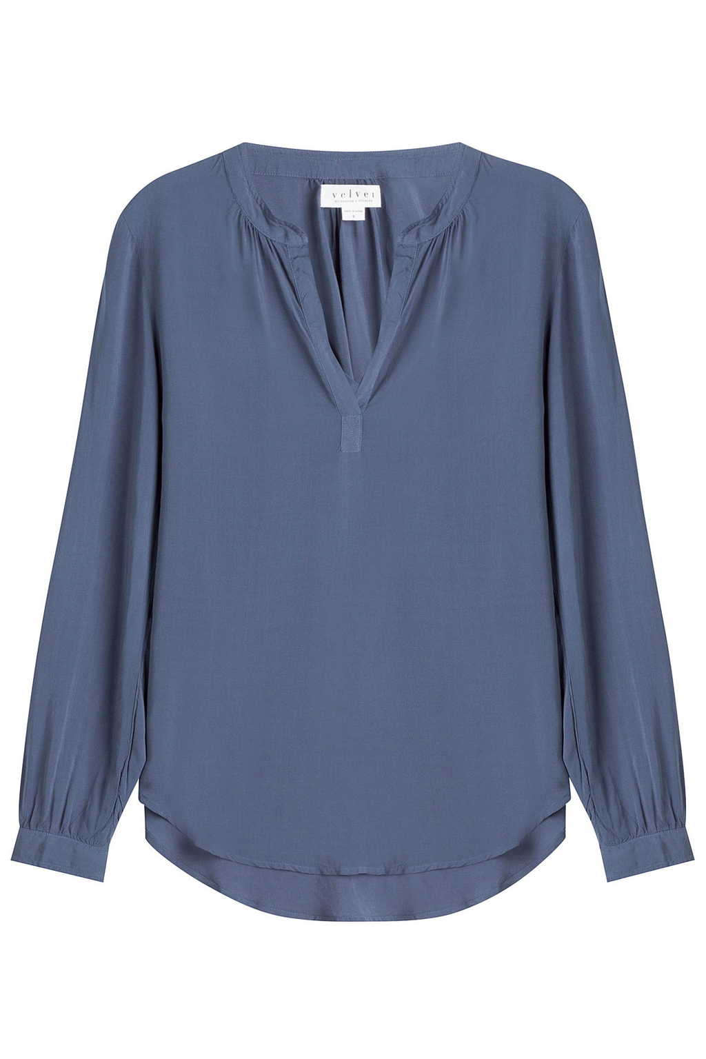 Tunic Blouse - pattern: plain; style: blouse; predominant colour: denim; occasions: casual; length: standard; neckline: collarstand & mandarin with v-neck; fibres: viscose/rayon - 100%; fit: loose; sleeve length: long sleeve; sleeve style: standard; texture group: sheer fabrics/chiffon/organza etc.; pattern type: fabric; season: a/w 2016; wardrobe: highlight
