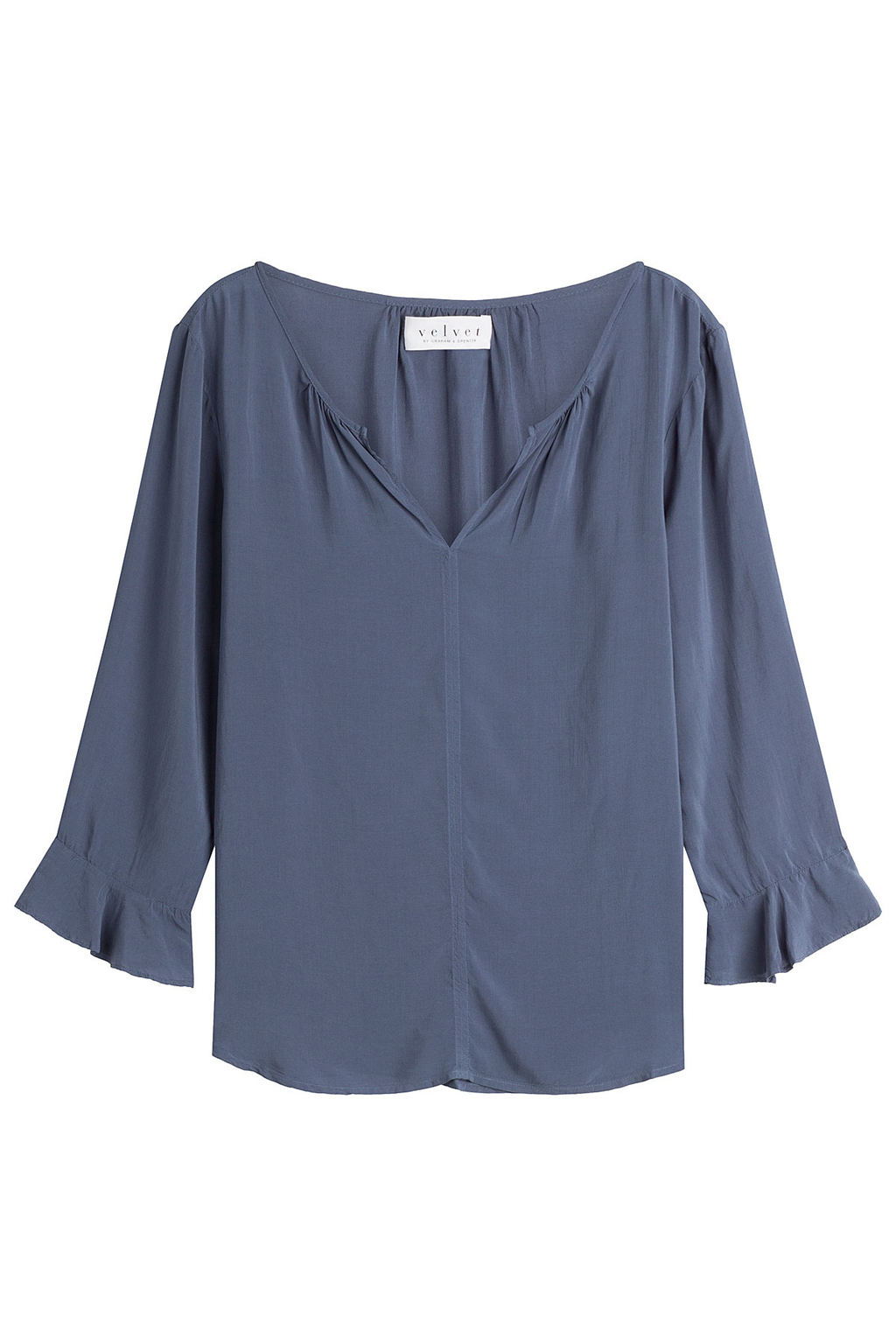 Fluid Blouse - neckline: v-neck; sleeve style: bell sleeve; pattern: plain; style: blouse; predominant colour: denim; occasions: casual; length: standard; fibres: viscose/rayon - 100%; fit: loose; sleeve length: 3/4 length; pattern type: fabric; texture group: jersey - stretchy/drapey; season: a/w 2016; wardrobe: highlight