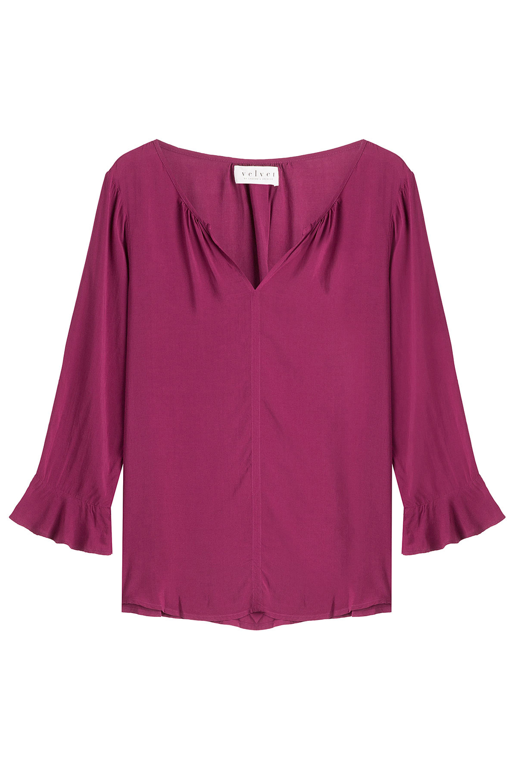 Fluid Blouse - neckline: v-neck; pattern: plain; style: blouse; sleeve style: trumpet; predominant colour: hot pink; occasions: casual; length: standard; fibres: viscose/rayon - 100%; fit: body skimming; sleeve length: 3/4 length; texture group: sheer fabrics/chiffon/organza etc.; pattern type: fabric; season: s/s 2013; wardrobe: highlight