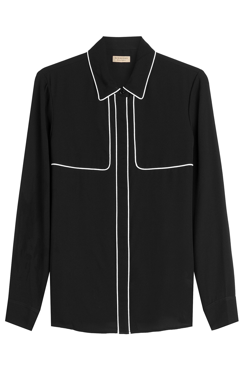 Mulberry Silk Blouse With Contrast Piping - neckline: shirt collar/peter pan/zip with opening; pattern: plain; style: blouse; secondary colour: white; predominant colour: black; occasions: evening; length: standard; fibres: silk - 100%; fit: body skimming; sleeve length: long sleeve; sleeve style: standard; texture group: silky - light; pattern type: fabric; multicoloured: multicoloured; season: a/w 2016; wardrobe: event