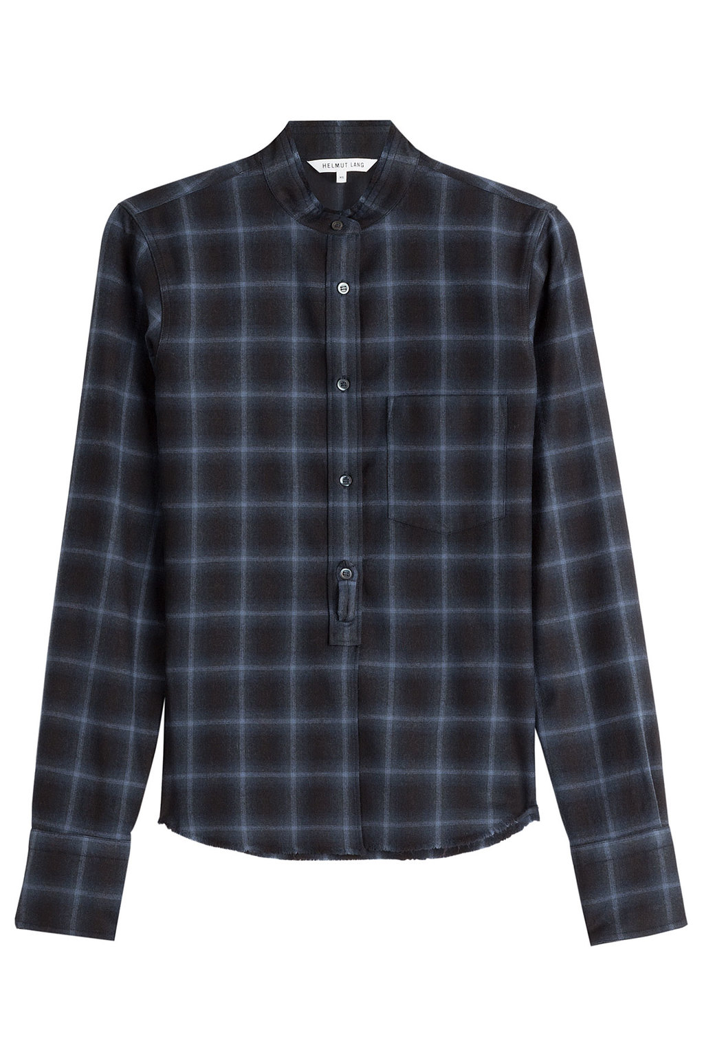 Wool Cashmere Shrunken Plaid Shirt - neckline: shirt collar/peter pan/zip with opening; pattern: checked/gingham; style: shirt; secondary colour: pale blue; predominant colour: navy; occasions: casual; length: standard; fit: body skimming; fibres: cashmere - 100%; sleeve length: long sleeve; sleeve style: standard; pattern type: fabric; texture group: other - light to midweight; multicoloured: multicoloured; season: a/w 2016; wardrobe: highlight