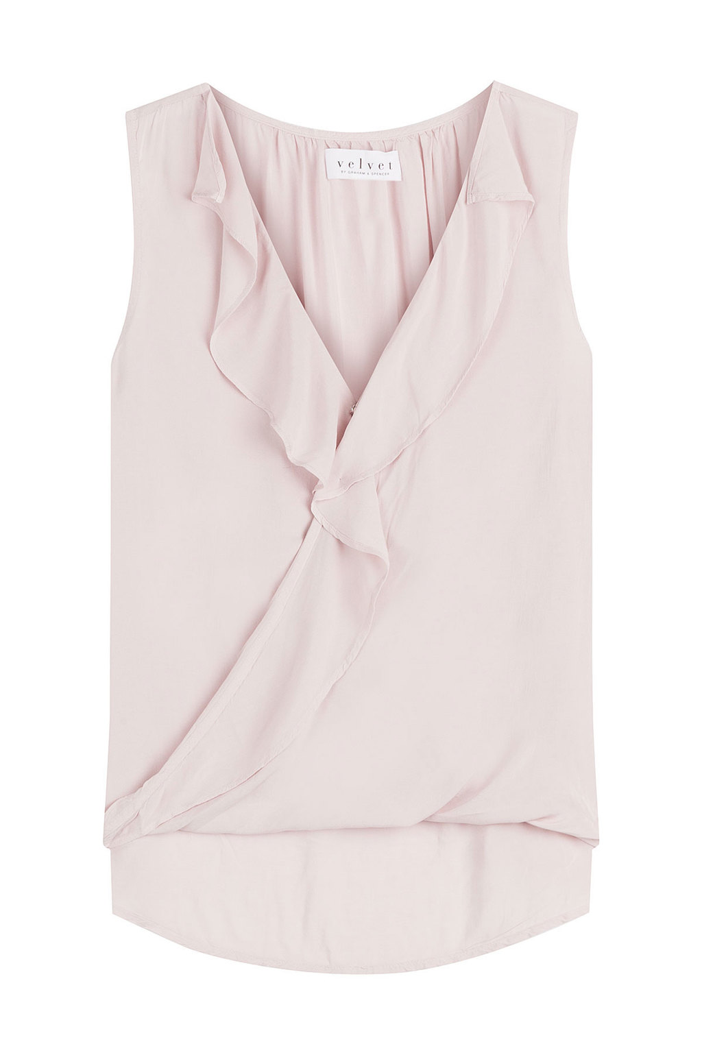 Sleeveless Top With Ruffles - neckline: v-neck; pattern: plain; sleeve style: sleeveless; style: wrap/faux wrap; predominant colour: blush; occasions: casual; length: standard; fibres: viscose/rayon - 100%; fit: body skimming; sleeve length: sleeveless; bust detail: bulky details at bust; pattern type: fabric; texture group: jersey - stretchy/drapey; season: a/w 2016; wardrobe: highlight