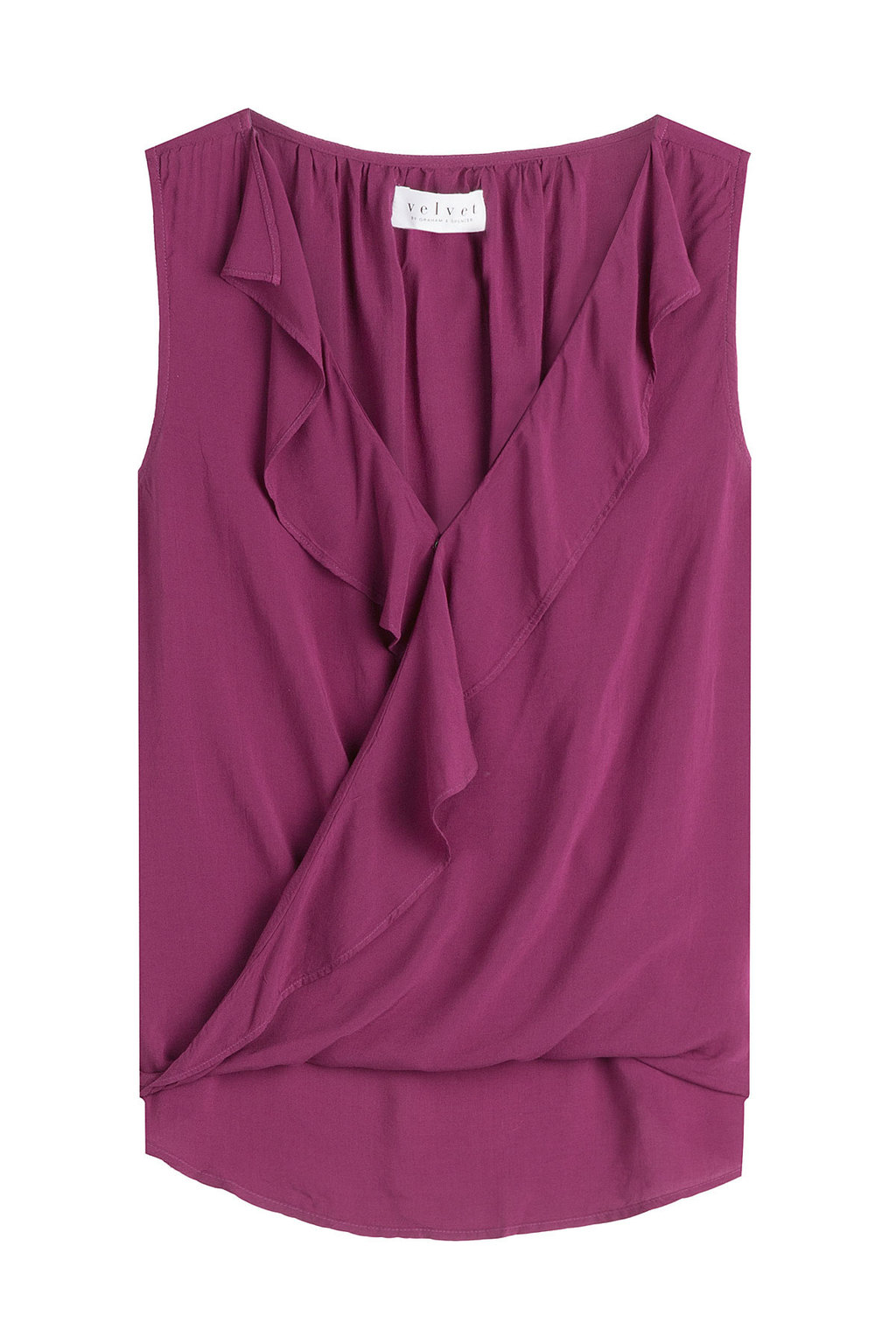Sleeveless Top With Ruffles Purple - neckline: v-neck; pattern: plain; sleeve style: sleeveless; style: wrap/faux wrap; predominant colour: magenta; occasions: casual; length: standard; fibres: viscose/rayon - 100%; fit: body skimming; sleeve length: sleeveless; bust detail: tiers/frills/bulky drapes/pleats; pattern type: fabric; texture group: jersey - stretchy/drapey; season: a/w 2016