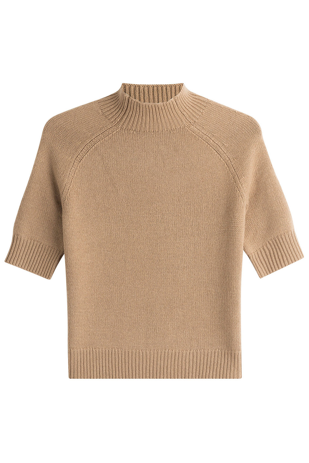 Cashmere Top With Short Sleeves Beige - pattern: plain; neckline: high neck; predominant colour: camel; occasions: casual; length: standard; style: top; fit: straight cut; fibres: cashmere - 100%; sleeve length: short sleeve; sleeve style: standard; texture group: knits/crochet; pattern type: knitted - fine stitch; season: a/w 2016